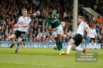 14/04/2018. Fulham v Brentford. SkyBet Championship Action from Craven Cottage. Brentford's Ollie WATKINS battles with Fulham's Tim REAM
