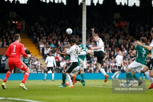 14/04/2018. Fulham v Brentford. SkyBet Championship Action from Craven Cottage. Brentford's Yoann BARBET heads on goal