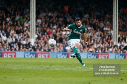 14/04/2018. Fulham v Brentford. SkyBet Championship Action from Craven Cottage. Brentford's Yoann BARBET