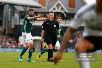 14/04/2018. Fulham v Brentford. SkyBet Championship Action from Craven Cottage. Brentford's Yoann BARBET wants another free kick