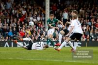 14/04/2018. Fulham v Brentford. SkyBet Championship Action from Craven Cottage. Brentford's Andreas BJELLAND shoots