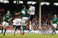 14/04/2018. Fulham v Brentford. SkyBet Championship Action from Craven Cottage. FulhamÕs Aleksandar MITROVIC battles