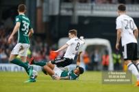 14/04/2018. Fulham v Brentford. SkyBet Championship Action from Craven Cottage. FulhamÕs Stefan JOHANSEN & Brentford's Nico YENNARIS