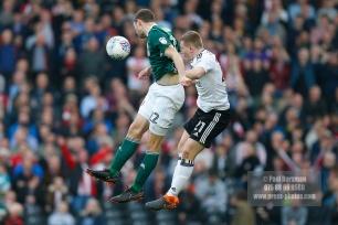 14/04/2018. Fulham v Brentford. SkyBet Championship Action from Craven Cottage. FulhamÕs Matt TARGETT & Brentford's Henrik DALSGAARD