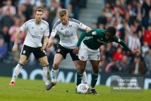 14/04/2018. Fulham v Brentford. SkyBet Championship Action from Craven Cottage. FulhamÕs Tim REAM & Brentford's Florian JOZEFZOON
