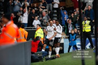 14/04/2018. Fulham v Brentford. SkyBet Championship Action from Craven Cottage. FulhamÕs Aleksandar MITROVIC celebrates