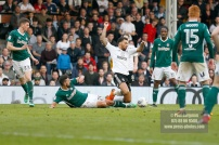 14/04/2018. Fulham v Brentford. SkyBet Championship Action from Craven Cottage. FulhamÕs Ryan FREDERICKS fouled by Brentford's Yoann BARBET
