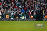 14/04/2018. Fulham v Brentford. SkyBet Championship Action from Craven Cottage. Brentford's Neal MAUPAY scores