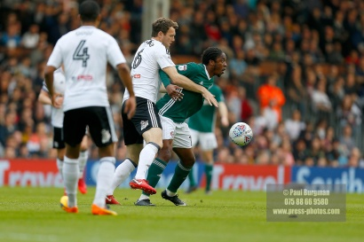 14/04/2018. Fulham v Brentford. SkyBet Championship Action from Craven Cottage. Fulham's Kevin MCDONALD & Brentford's Romaine SAWYERS