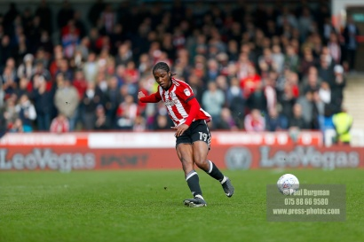07/04/2018. Brentford FC v Ipswich Town, SkyBet Championship Action from Griffin Park Brentford's Romaine SAWYERS