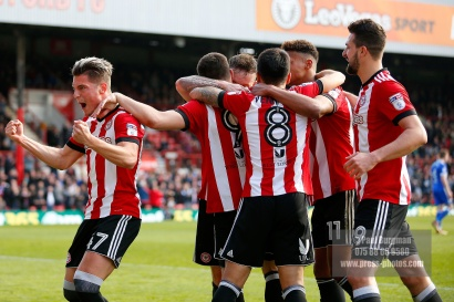 07/04/2018. Brentford FC v Ipswich Town, SkyBet Championship Action from Griffin Park Brentford's Neal MAUPAY celebrates after scoring from the penalty spot