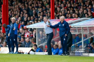 07/04/2018. Brentford FC v Ipswich Town, SkyBet Championship Action from Griffin Park Brentford's Manager Dean SMITH