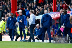 07/04/2018. Brentford FC v Ipswich Town, SkyBet Championship Action from Griffin Park Brentford's Manager Dean SMITH & Ipswich Town Manager Mick MccARTHY shake hands at the end of the match