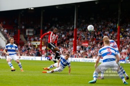 21/04/2018. Brentford v Queens Park Rangers SkyBet Championship Action from Griffin Park. Brentford's Romaine SAWYERS shoots