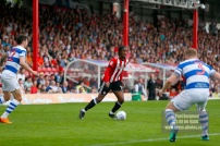 21/04/2018. Brentford v Queens Park Rangers SkyBet Championship Action from Griffin Park. Brentford's Romaine SAWYERS
