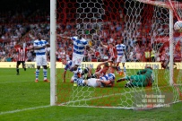 21/04/2018. Brentford v Queens Park Rangers SkyBet Championship Action from Griffin Park. Brentford's Sergi CANOS scores