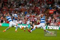 21/04/2018. Brentford v Queens Park Rangers SkyBet Championship Action from Griffin Park. Brentford's Sergi CANOS shoots