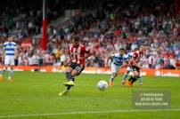 21/04/2018. Brentford v Queens Park Rangers SkyBet Championship Action from Griffin Park. Brentford's Ollie WATKINS penalty saved
