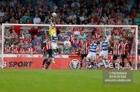 21/04/2018. Brentford v Queens Park Rangers SkyBet Championship Action from Griffin Park. Brentford's Goalkeeper Daniel BENTLEY punches