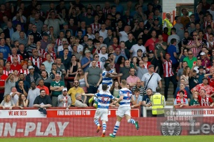 21/04/2018. Brentford v Queens Park Rangers SkyBet Championship Action from Griffin Park. QPR's Idrissa SYLLA celebrate