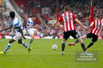 21/04/2018. Brentford v Queens Park Rangers SkyBet Championship Action from Griffin Park. QPR's Massimo LUONGO shoots