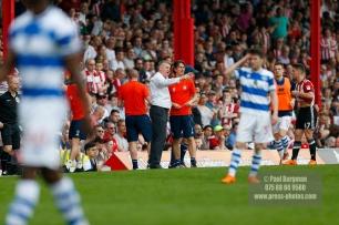 21/04/2018. Brentford v Queens Park Rangers SkyBet Championship Action from Griffin Park. Brentford's Manager Dean SMITH