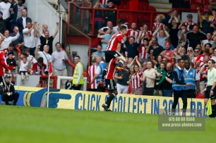21/04/2018. Brentford v Queens Park Rangers SkyBet Championship Action from Griffin Park. Brentford's Florian JOZEFZOON celebrates
