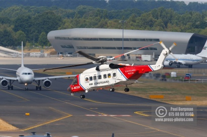 21/07/2018 Pictures from Farnborough International Airshow. HM Coastguard Helicopter takes off