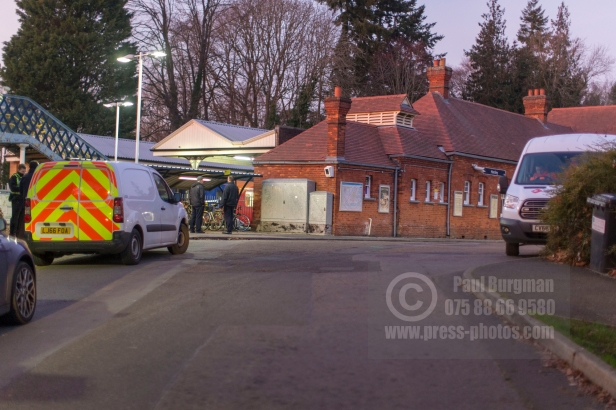 04/01/2019 Police Cordon in place at Horsley Tran Station after a man was stabbed to death on a train from Guildford to Waterloo
