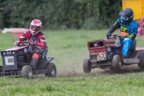 22/06/2019 From Paul Burgman/Press-Photos.com. Action from the British Lawn Mower Racing from Newdigate, Surrey. Stuart Wright (80) races with Gary Botting (9)
