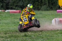 22/06/2019 From Paul Burgman/Press-Photos.com. Action from the British Lawn Mower Racing from Newdigate, Surrey. Les Pantry has a moment!