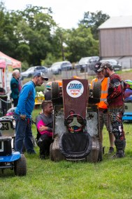 22/06/2019 From Paul Burgman/Press-Photos.com. Action from the British Lawn Mower Racing from Newdigate, Surrey. Running repairs in the Pit Lane