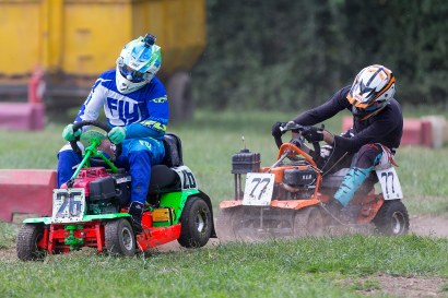 22/06/2019 From Paul Burgman/Press-Photos.com. Action from the British Lawn Mower Racing from Newdigate, Surrey. Daniel Jones (26) & Ross Chalinor battle