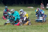 22/06/2019 From Paul Burgman/Press-Photos.com. Action from the British Lawn Mower Racing from Newdigate, Surrey. Race Winner Ian Tanswell (56) leads Peter Sque (32) and Stuart Johnson (8)