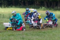 22/06/2019 From Paul Burgman/Press-Photos.com. Action from the British Lawn Mower Racing from Newdigate, Surrey. Race Winner Ian Tanswell (56) leads Peter Sque (32) and Dean Fuller (43)