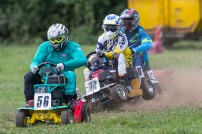 22/06/2019 From Paul Burgman/Press-Photos.com. Action from the British Lawn Mower Racing from Newdigate, Surrey. . Race Winner Ian Tanswell (56) leads Peter Sque (32) and Dean Fuller (43)