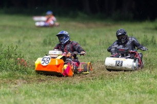 22/06/2019 From Paul Burgman/Press-Photos.com. Action from the British Lawn Mower Racing from Newdigate, Surrey. Mike Cresswell (58) leads Graham Tibbenham (123)