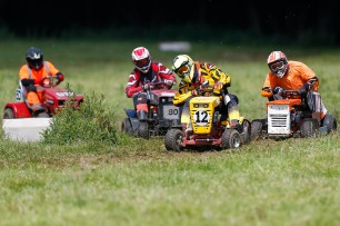 22/06/2019 From Paul Burgman/Press-Photos.com. Action from the British Lawn Mower Racing from Newdigate, Surrey. Les Pantry (12), Richard Davies (17) & Paul Lovett (80)