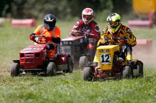 22/06/2019 From Paul Burgman/Press-Photos.com. Action from the British Lawn Mower Racing from Newdigate, Surrey. Les Pantry (12), Kenny Goodesmith (50) & Paul Lovett (80)