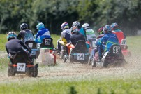 22/06/2019 From Paul Burgman/Press-Photos.com. Action from the British Lawn Mower Racing from Newdigate, Surrey. . And theyÕre off.