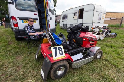 22/06/2019 From Paul Burgman/Press-Photos.com. Action from the British Lawn Mower Racing from Newdigate, Surrey. Michael Nam relaxes between races.