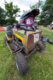 22/06/2019 From Paul Burgman/Press-Photos.com. Action from the British Lawn Mower Racing from Newdigate, Surrey.