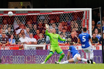 03/08/2019 From Paul Burgman/Press-Photos.com. Brentford v Birmingham City in the Championship. Woodwork saves CityÕs Goalkeeper Lee Camp