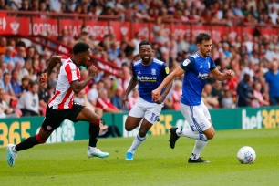 03/08/2019 From Paul Burgman/Press-Photos.com. Brentford v Birmingham City in the Championship. CityÕs Defender Maxime Colin & CityÕs Midfielder Jacques Maghoma