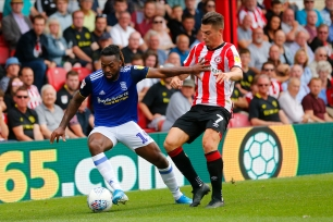 03/08/2019 From Paul Burgman/Press-Photos.com. Brentford v Birmingham City in the Championship. CityÕs Midfielder Jacques Maghoma & Brentford's Sergi Canos