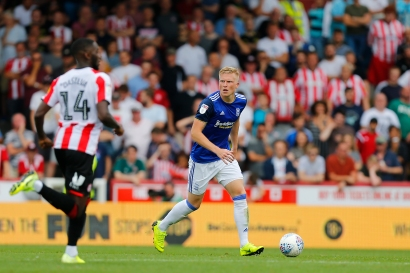 03/08/2019 From Paul Burgman/Press-Photos.com. Brentford v Birmingham City in the Championship. goalscorer Kristian Pedersen