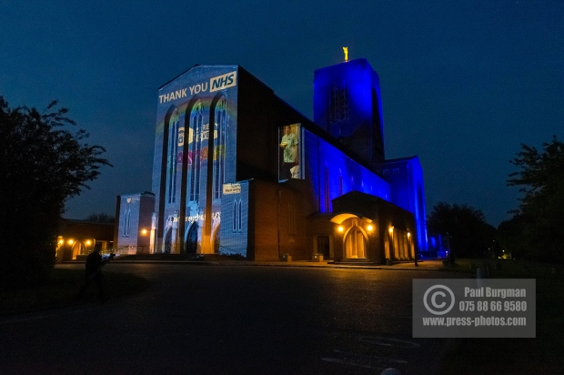 23/04/2020. Guildford Cathedral lit up with tribute to the NHS this evening